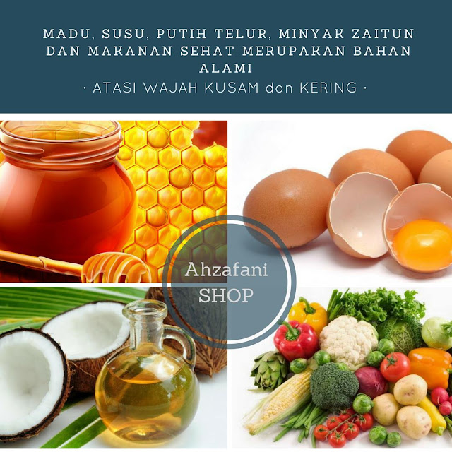 Madu susu putih telur minyak zaitun dan makanan sehat merupakan bahan alami untuk atasi wajah kusam dan kering