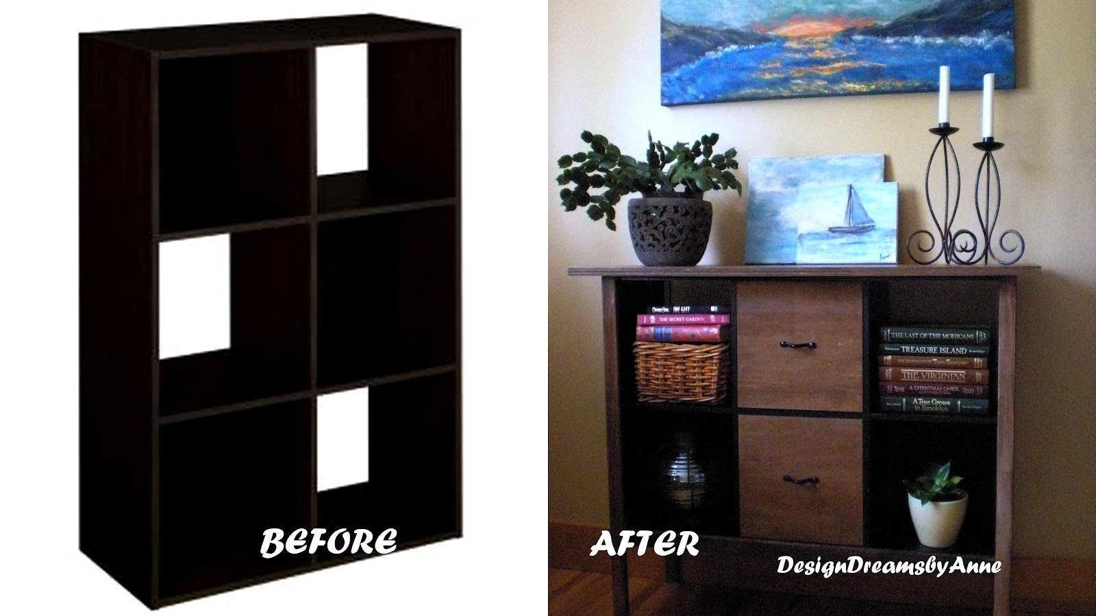 Turn A Cube Storage Piece Into An Amazing Console Table