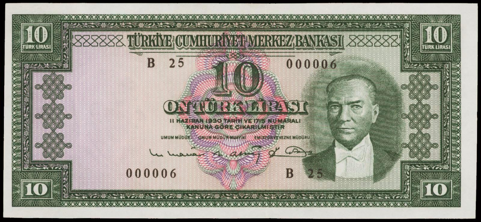 Turkey banknotes 10 Turkish Lira banknote 1960 Atatürk