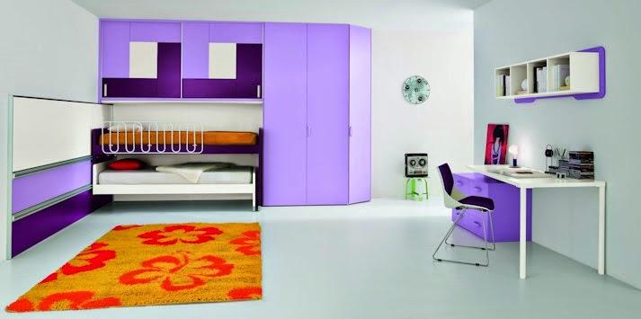 Dormitorio juvenil lila naranja
