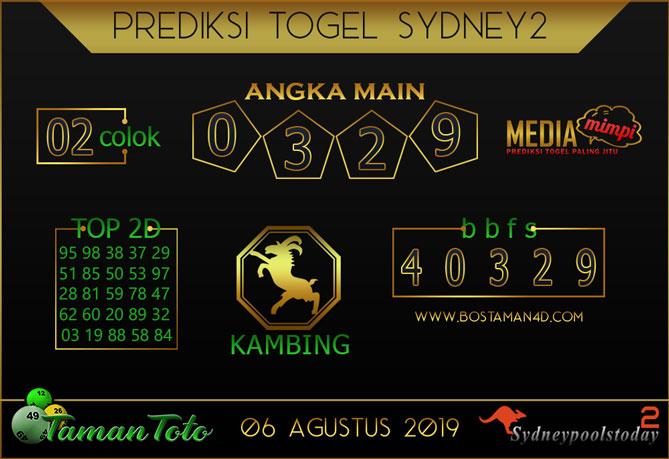 Prediksi Togel SYDNEY 2 TAMAN TOTO 06 AGUSTUS 2019