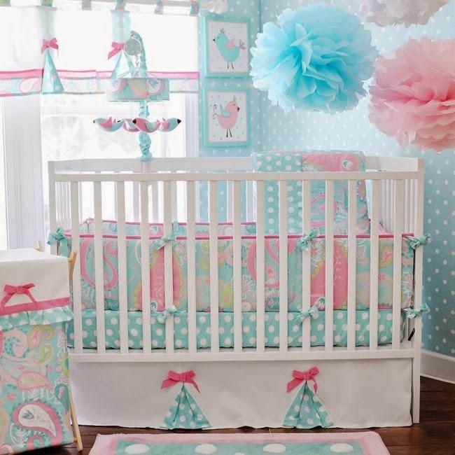 Cuarto de beb en rosa y turquesa colores en casa - Habitaciones bebe modernas ...