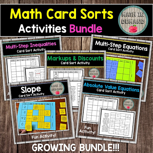 Math Card Sort Activities