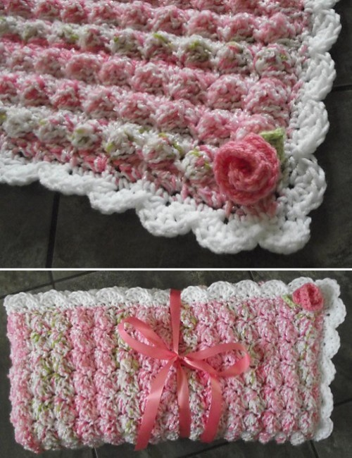 Rosebud Bubbles Baby Blanket - Free Pattern