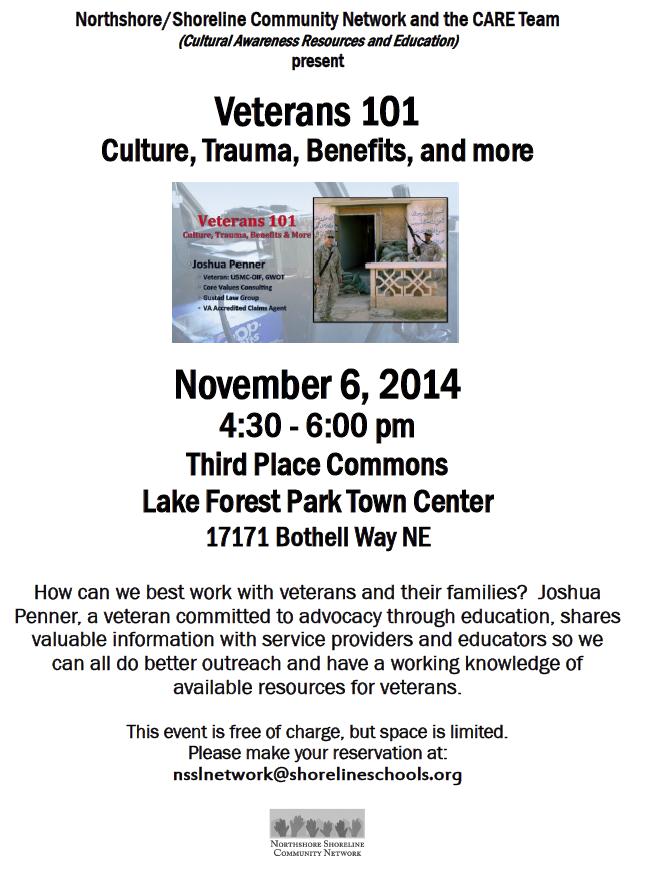 Shoreline Area News: Veterans 101 talk at Third Place