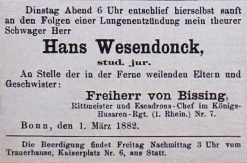 Bonner Zeitung. Todesanzeige von Freiherr Moritz von Bissing vom 01.03.1882