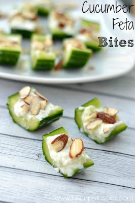 Cucumber Feta Bites from Simply Inspired featured for Low-Carb Recipe Love on Fridays (6-17-16) found on KalynsKitchen.com