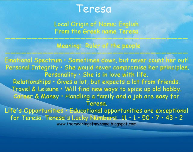 Meaning of the Name Teresa - Know Your Name Meaning  Get posters and