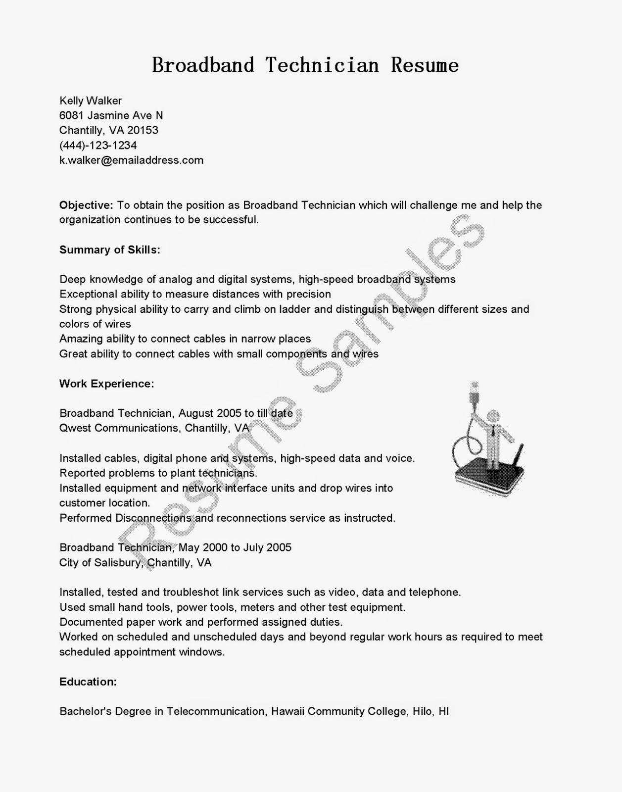 resume samples  broadband technician resume sample