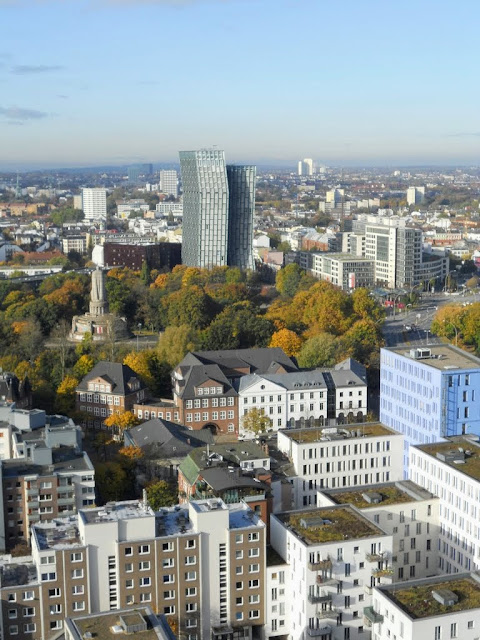 Cool things to do in Hamburg: Check out the view of the Reeperbahn from the tower of St. Michel's Church.