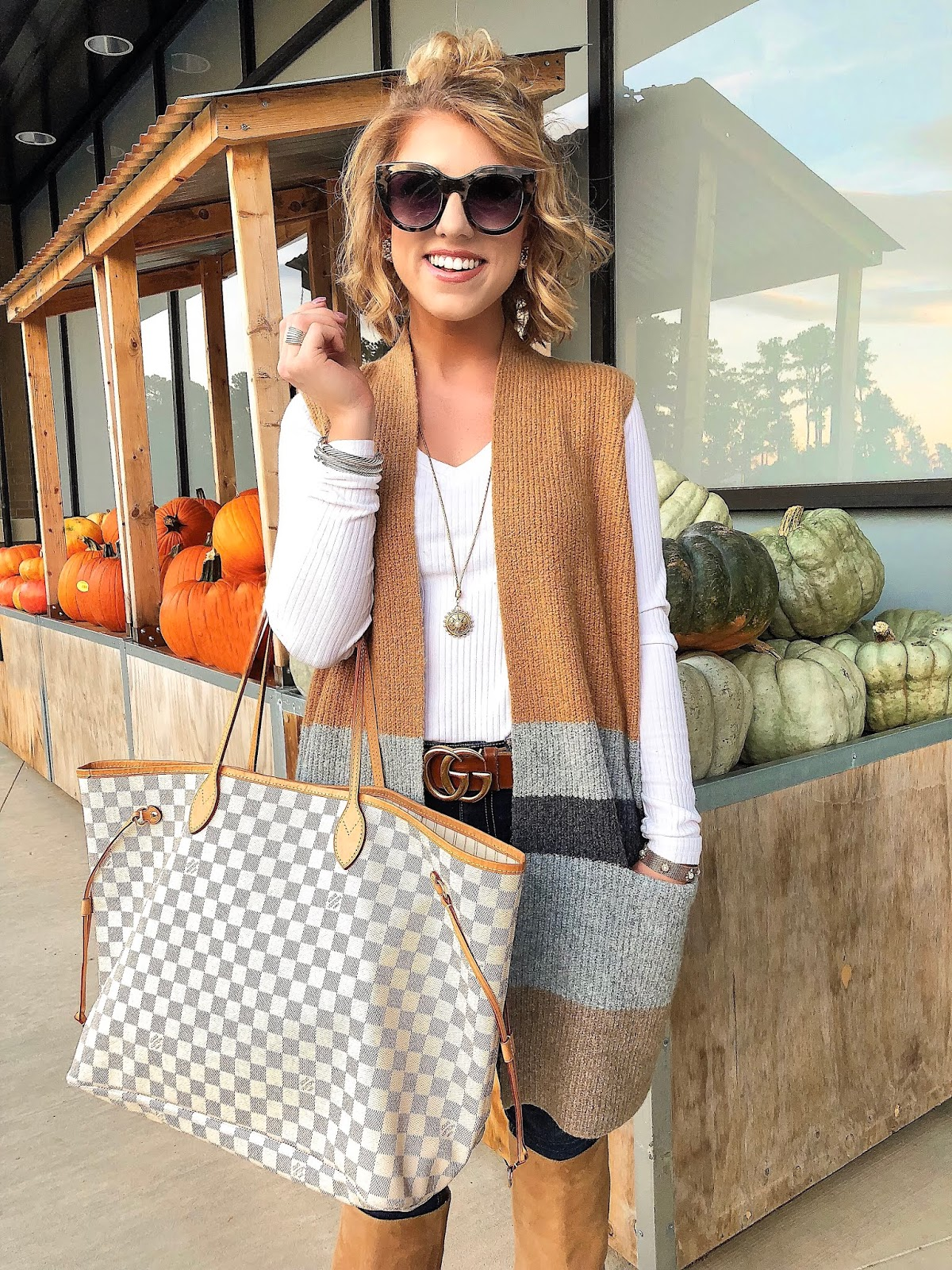 Fall Style: LOFT Sweater Vest + Louis Vuitton Neverfull - Something Delightful Blog
