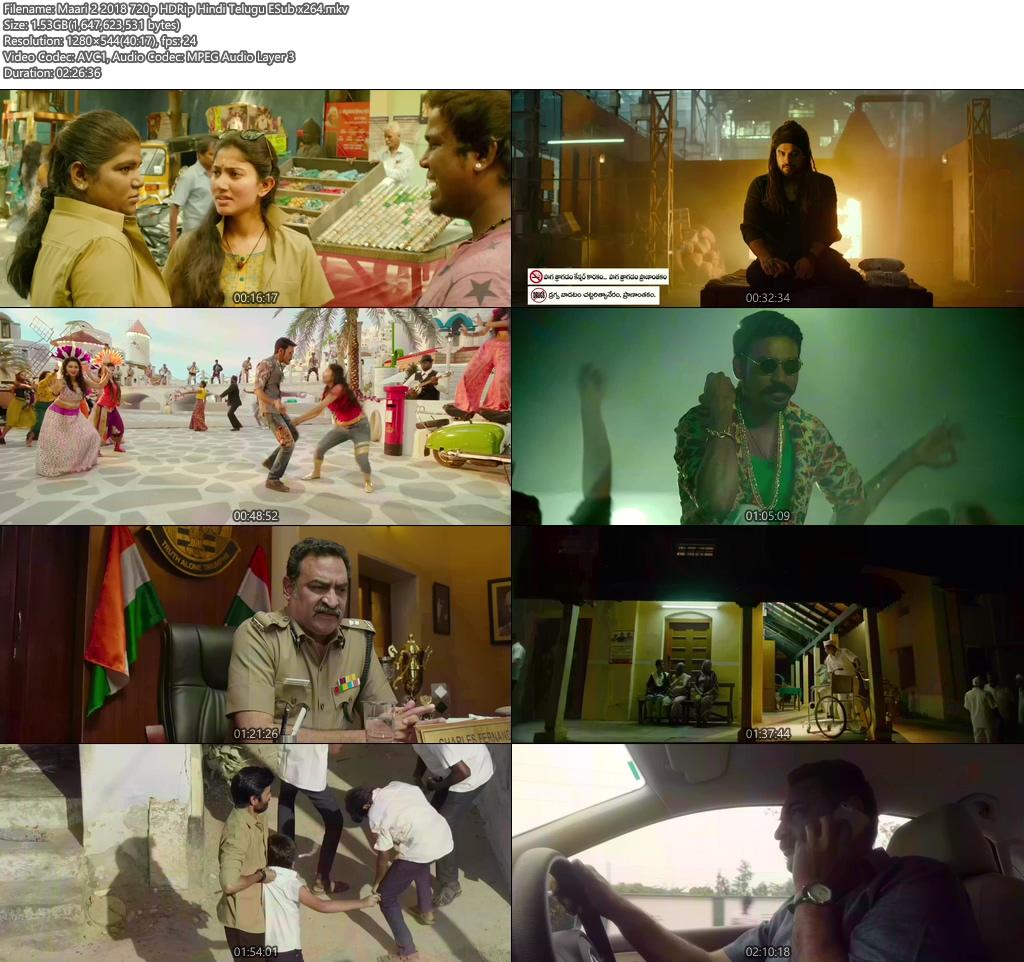 Maari 2 2018 720p HDRip Hindi Telugu ESub x264 | 480p 300MB | 100MB HEVC Screenshot