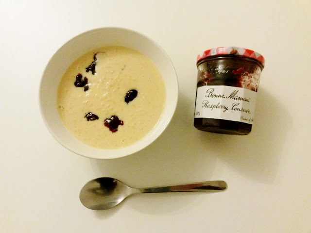 Rice pudding with Bonne Maman raspberry jam