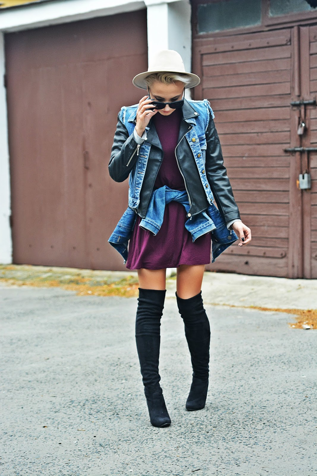 burgundy_dress_biker_jacket_high_knee_boots_karyn2