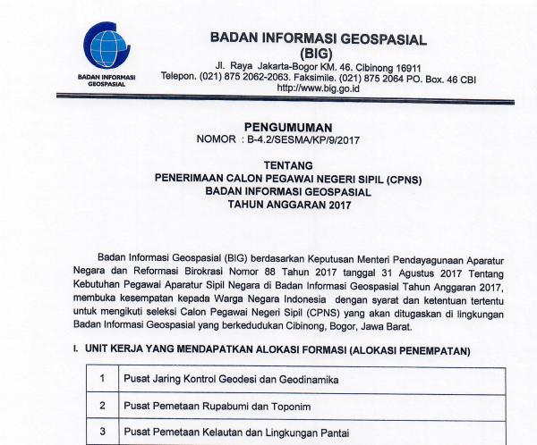 BIG - Soal dan Pendaftaran CPNS Badan Informasi Geospasial 2017