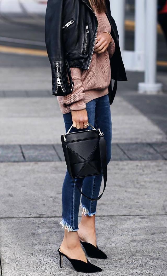 stylish look_leather jacket + brown sweater + black bag + skinnies + heels