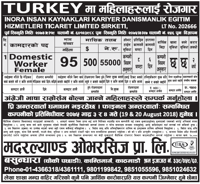 Jobs in Turkey for Nepali, salary Rs 55,000