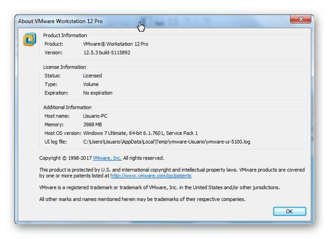 VMware Workstation Versión 12.5.3