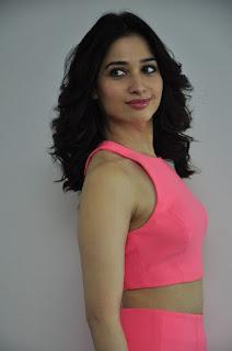 Actress Tamanna Stills in Pink Dress at Oopiri Movie Interview  0040
