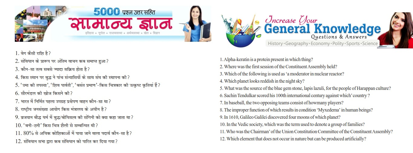 CareerMantra: 5000 GK Questions with Answers (in HINDI and ENGLISH)