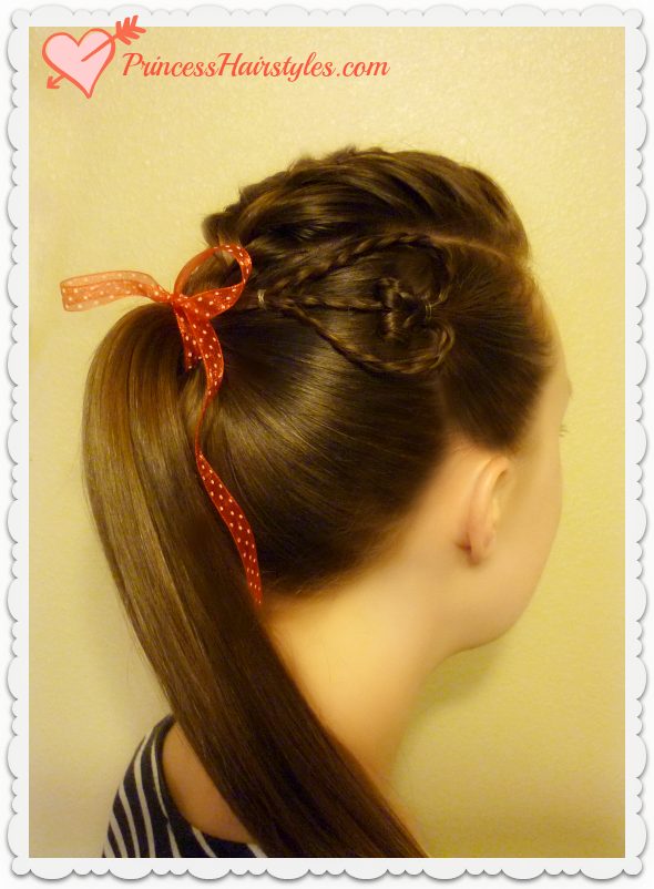 Valentines Day Hairstyle For Teens Braided Faux Hawk With Heart - Hairstyle for valentine's dance