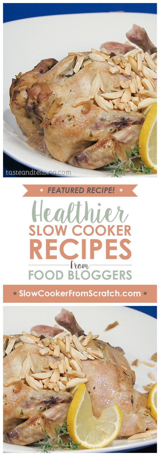 Slow Cooker Roasted Lemon Almond Cornish Hens from Taste and Tell featured on SlowCookerFromScratch.com