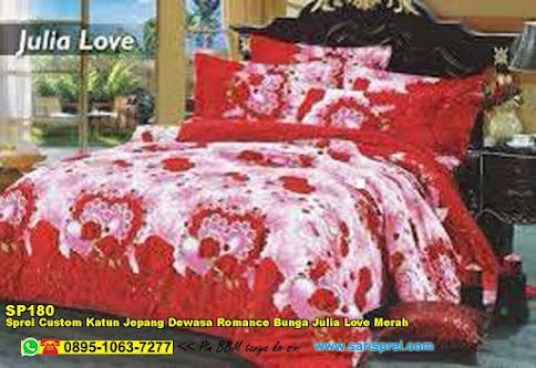 Sprei Custom Katun Jepang Dewasa Romance Bunga Julia Love Merah