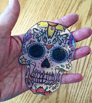 ShrinkyDink skull before baking.