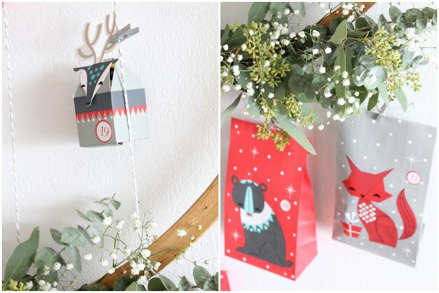 DIY tierischer Adventskalender mit IKEA Vinter 2017 Adventskranz Eukalyptus Schleierkraut Hula Hoop Reifen Jules kleines Freudenhaus