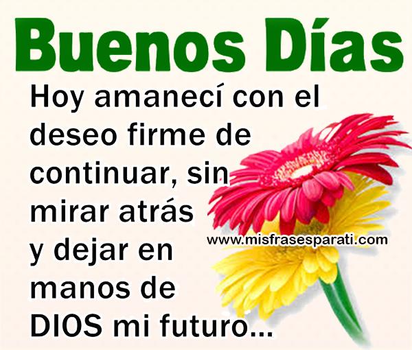 Buenos días, hoy amanecí con el deseo firme de continuar sin mirar atrás y dejar en manos de Dios mi futuro