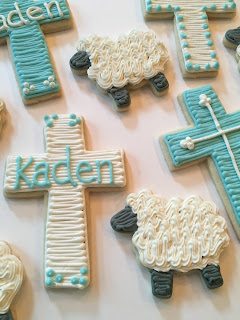 Baby Boy Baptism Themed Cookies