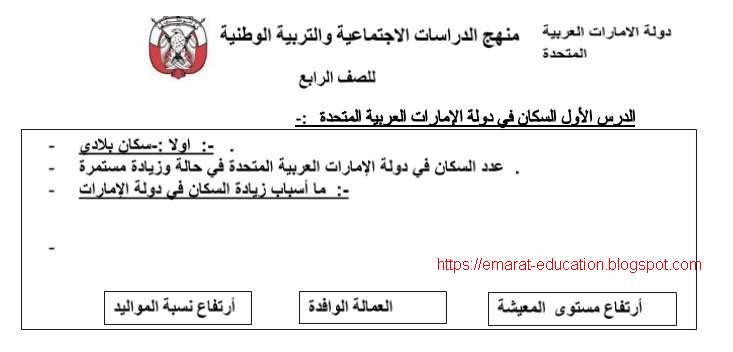 ملخص درس السكان في دولة الامارات العربية المتحدة مادة الاجتماعيات للصف الرابع الفصل الثانى 2020
