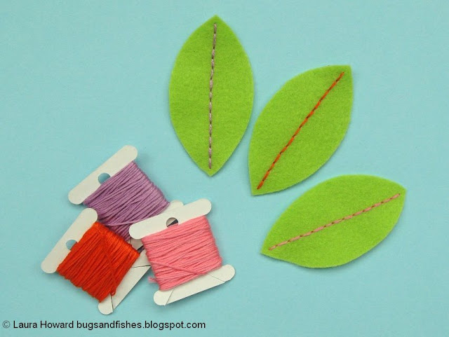 embroider the felt leaves