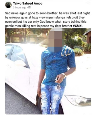 Another Nigerian Shot Dead, His Car Stolen In South Africa
