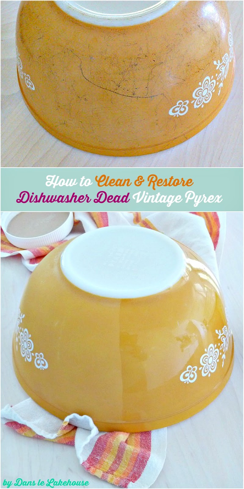 How to clean and restore dishwasher dead vintage Pyrex
