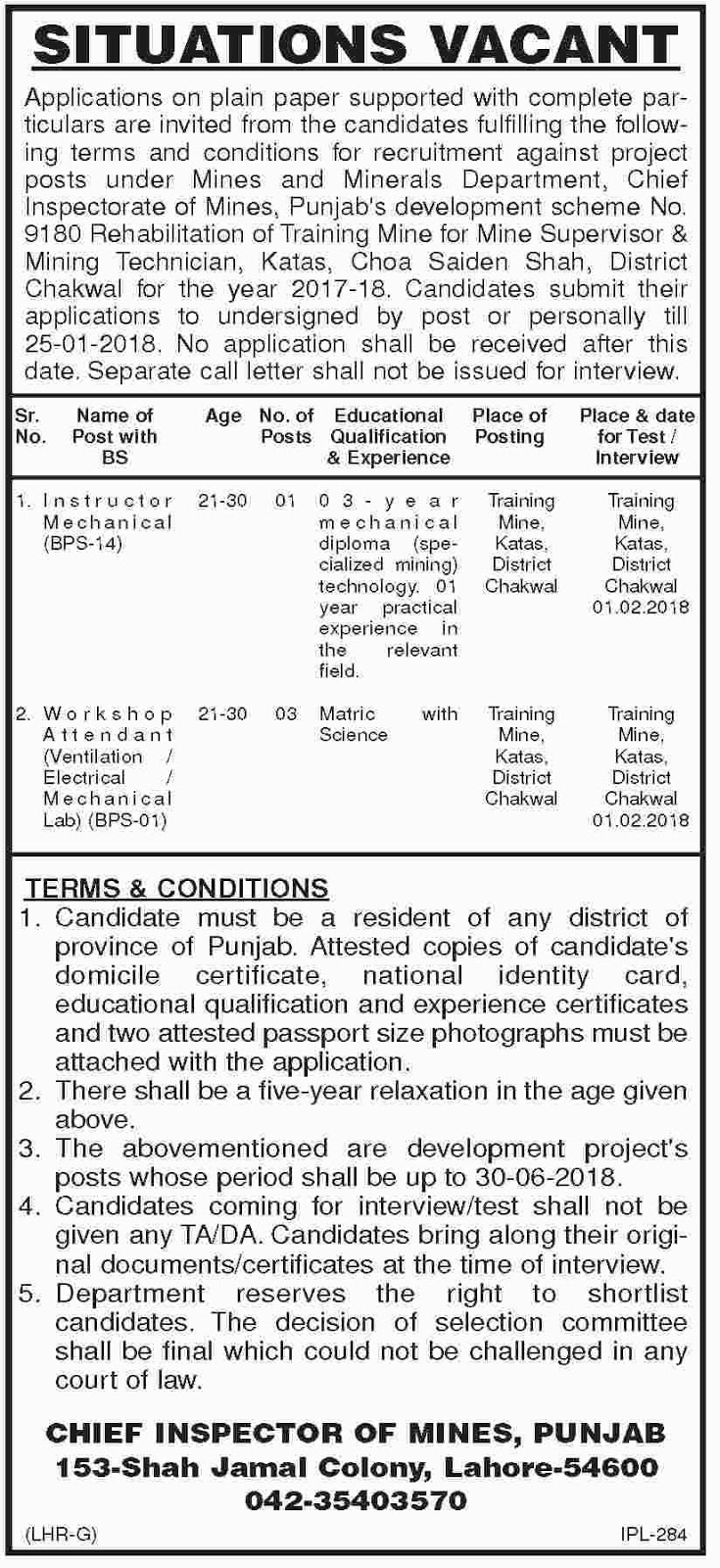 Jobs In Mines And Minerals Department Lahore