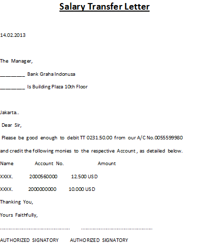 Request Letter To Company For Salary Transfer To Bank Account – Sample Salary Letter