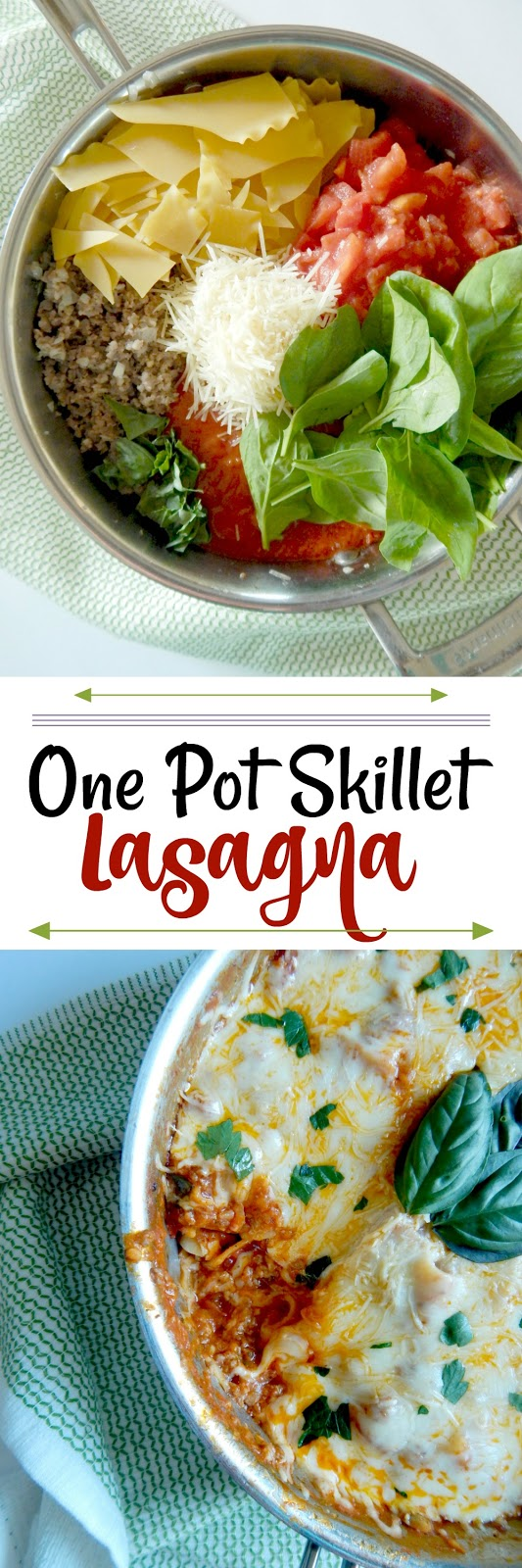 One Pot Skillet Lasagna...this short cut lasagna version is so good, maybe better than the real thing!  It takes under 30 minutes and full of the traditional lasagna favorites - noodles, tomatoes, marinara, spinach and CHEESE! (sweetandsavoryfood.com)