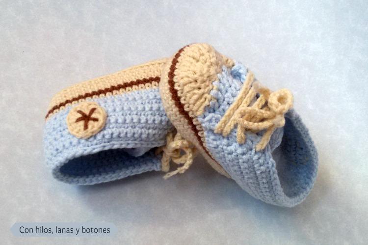 Converse de ganchillo para beb con hilos lanas y botones - Toca de ganchillo ...