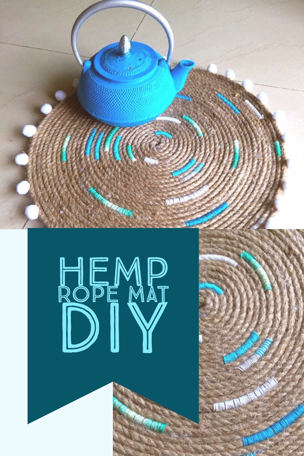 Coastal decor hemp rope mat DIY project