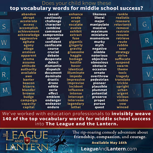 middle school #vocabulary words from the #middlegrade #novel The League and the Lantern