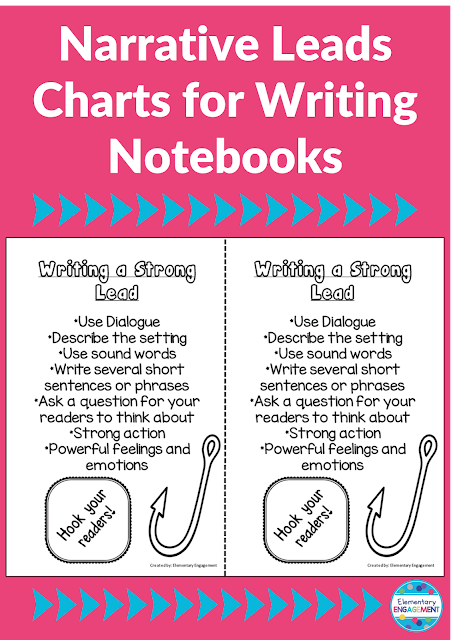These great charts for writing strong leads are perfect for interactive notebooks!  They are a free download on this post.