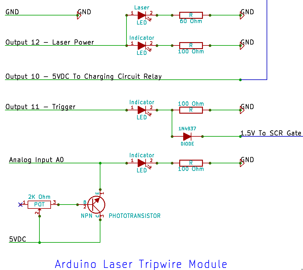 Ben Li Sauerwines Notebook June 2013 Fig 1 Thyristor Fired Coilgun Circuit My Arduino Laser Tripwire Module Modified From Earlier Design