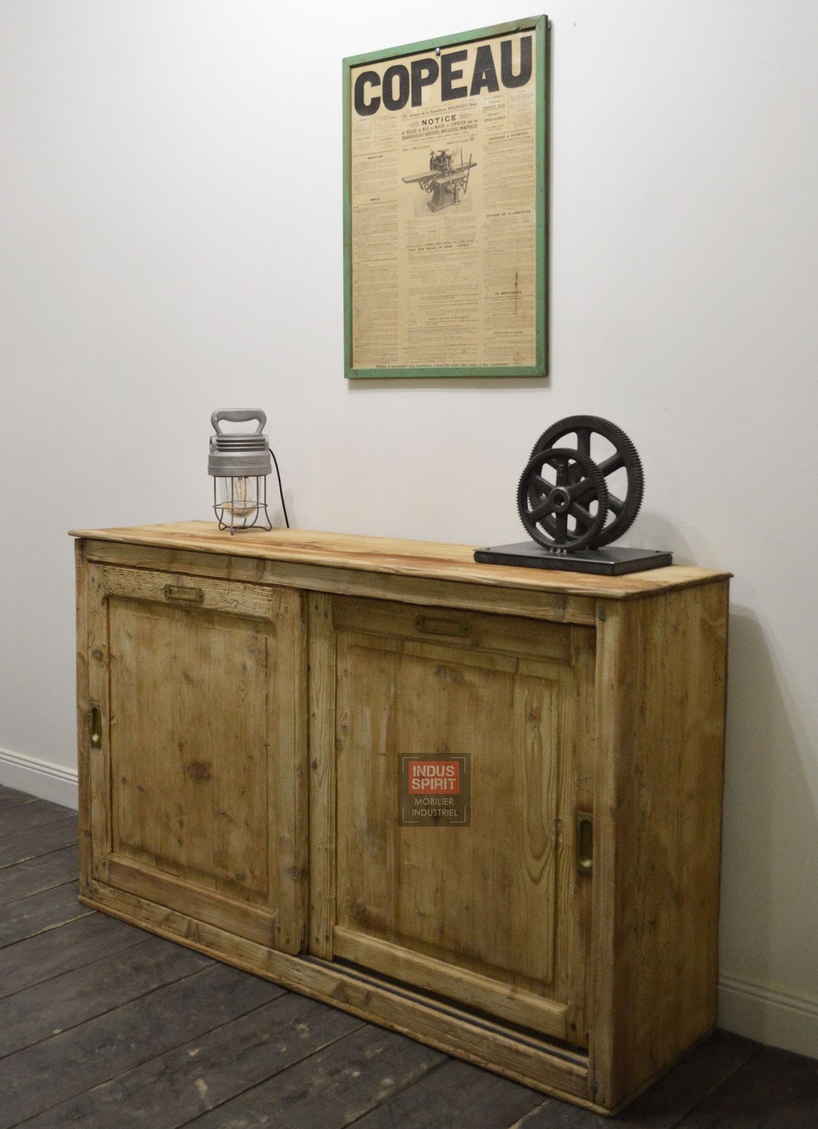 Ancien meuble de m tier porte coulissante for Meuble porte four