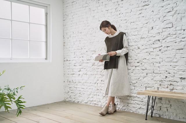 溫室花園 米線斜排釦洋裝搭配針織背心