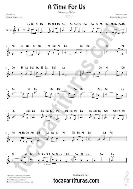 A Time For Us Partitura con Notas en Letra en español Romeo y Julieta Partituras de Flautas, Saxofón Tenor, Violín, Oboe, Trompeta, Clarinete, Corno Inglés, Corno Francés o Trompa, Saxofón Tenor o Soprano...