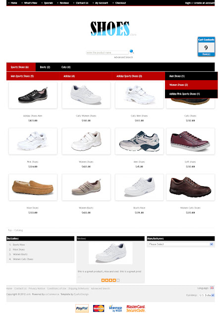 Free osCommerce 2.3.1 Template for Shoes Store