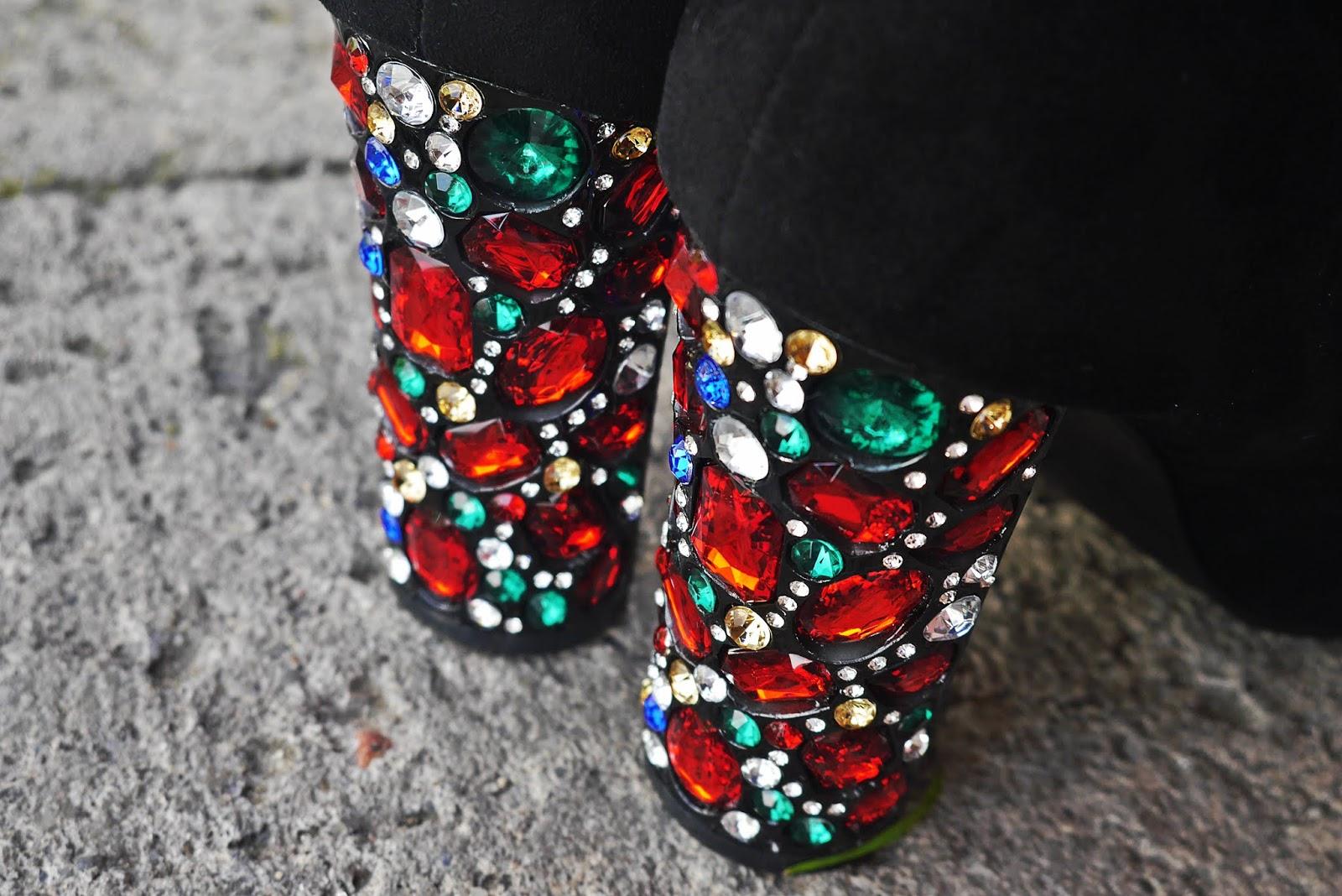 Czarne botki diamond sky renee kolorowy top shein karyn blog modowy