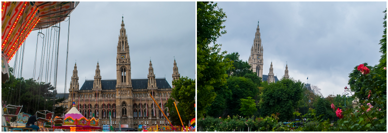The architecture and greenery of the town hall in Vienna, Austria