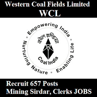 Western Coal Fields Limited, WCL, Maharashtra, 10th, Clerk, Mining Sirdar, freejobalert, Sarkari Naukri, Latest Jobs, wcl logo